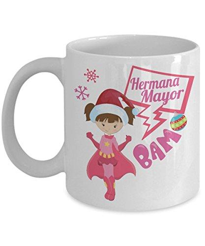 Hermana Mayor Spanish Big Sister Merry Christmas Holiday Coffee Mug- Xmas Decorative Cup Super Hero Big Sis