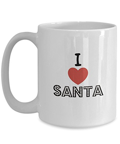 I HEART SANTA I LOVE SANTA Christmas Holiday Coffee Mug Tea Mug