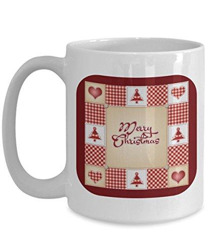 Merry Christmas Holiday Coffee Mug Gift Vintage Red White Plaid Gingham Trees Hearts
