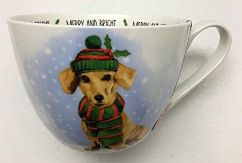 Portobello by Design Christmas Holiday CoffeeTea Mug Featuring Christmas Dachshund for the Dog Lover  Bone China Designed in England