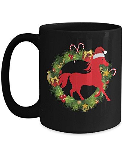 Shirt White Lights Horse Christmas Holiday Coffee Mug 15oz Black