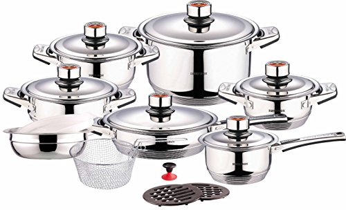 Swiss Inox Si-7000 18-piece Stainless Steel Cookware Set, Includes Induction Compatible Fry Pots, Pans, Saucepan