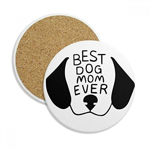 Best Dog Mom Ever Quote DIY Design Ceramic Coaster Cup Mug Holder Absorbent Stone for Drinks 2pcs Gift