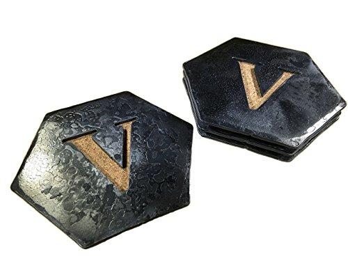 Forged Iron Hexagon Monogram Coasters - Set of 4