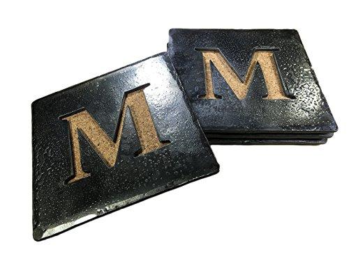Forged Iron Square Monogram Coasters - Set of 4