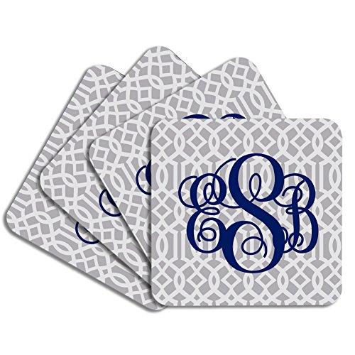 Gray Trellis Script Monogram Coaster Set - Neoprene Rubber