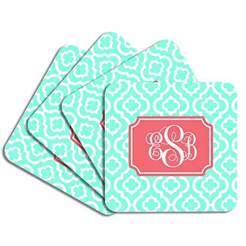 Personalized Monogram Coaster Set - Mint Coral Quatrefoil Trellis - Hardboard