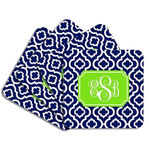 Personalized Monogram Coaster Set - Navy Lime Quatrefoil Trellis - Hardboard