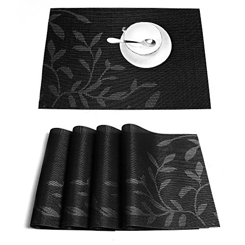 HEBE Placemats Set of 4 Black Placemats for Dining Table Washable Heat-resistant Stain Resistant Woven Vinyl Kitchen Table Place Mats