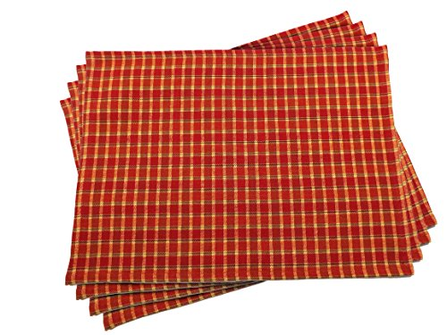 Fall Galway Grand Plaid Placemats - Set of 4 - 13 x19 Inches