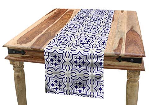 Ambesonne Navy Blue Table Runner Portuguese Tile Design Traditional Azulejo Retro Style Mosaic Dining Room Kitchen Rectangular Runner 16 X 72 Violet Blue