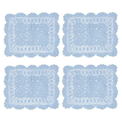 kilofly Handmade Crochet Cotton Lace Table Placemats Doilies Value Pack Set of 4 Blue