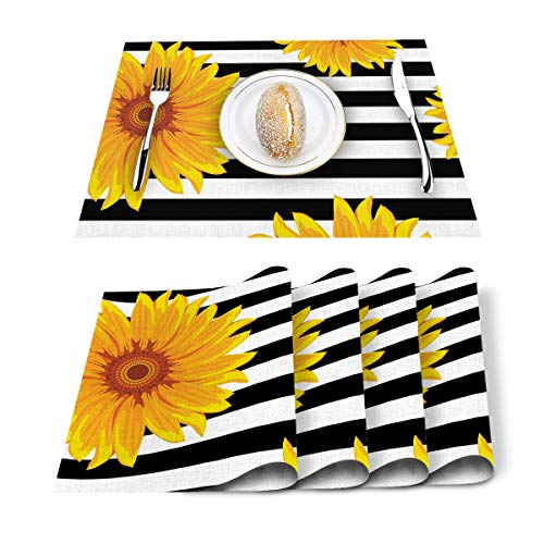 SUN-Shine Sunflower Placemats Black and White Stripes Placemat for Dining Table Decorations Heat-Resistant Washable Table Mats for Kitchen Dinner Banquet