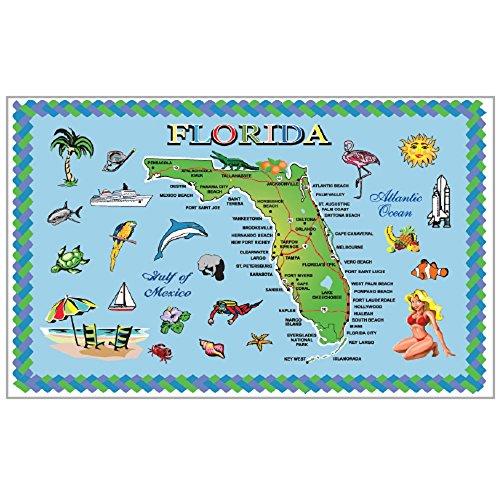 Rockin Gear Placemat Florida Blue map Set of 4 Map Souvenir Laminated Placemat 115 x 17 Florida