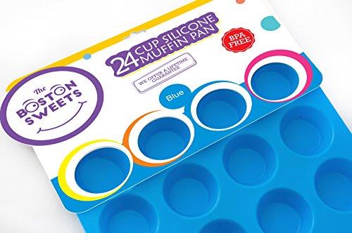 Silicone Mini Muffin Cupcake Pan-24 Cups Blue Mold Baking Tray- Reusable Non-Stick Bakeware-Heat ResistantFood GradeBPA-Free Silicone Non-Toxic – FREE E-BOOK WITH 50 RECIPES