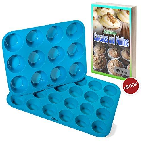 Silicone Muffin Cupcake Baking Pan Set 12 24 Mini Cup Sizes - Non Stick BPA Free Dishwasher Safe Silicon Bakeware PansTins - Blue Top Home Kitchen Rubber Trays Molds - Free Recipe eBook