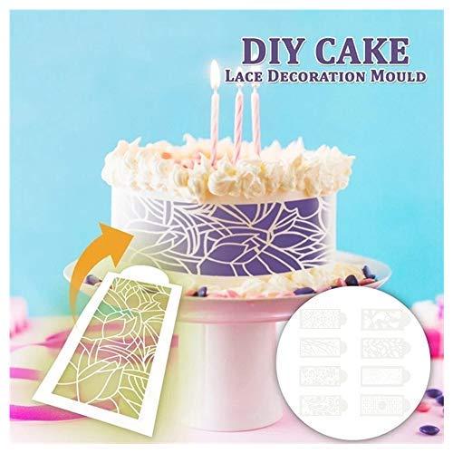 77JOK 8 Pack Cake Icing Molds - DIY Silicone Fondant Lace Embosser Mat Cake Fondant Embossing Mold Cake Lace Decoration Moulds Cake Baking Tool for Sugarcraft Cupcake Wedding Cake Decoration