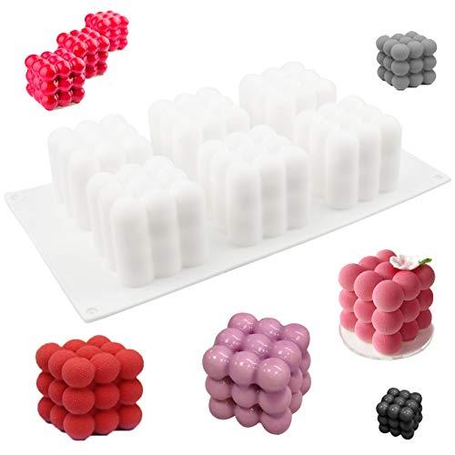 Bozoa Silicone Mousse Cake Mold - 3D Magic Cube Bubble Mold 6-Cavity Dessert Mold Chocolate Ice Cream Cheesecake soap Baking Tools