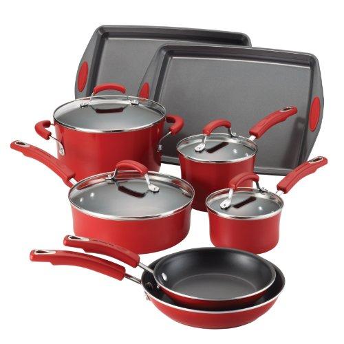 Rachael Ray Porcelain Enamel Ii Nonstick 12-piece Cookware Set, Red Gradient