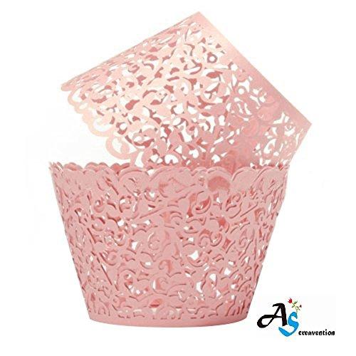 A&S Creavention Vine Cupcake Holders Filigree Vine Designed Decor Wrapper Wraps Cupcake Muffin Paper Holders - 50pcs Pink