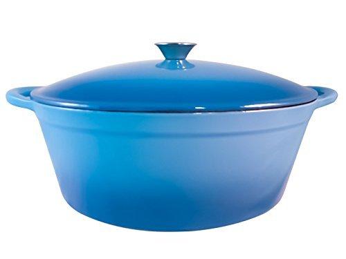 Le Chef Enamel Cast Iron Caribbean Blue Oval Dutch Oven 7 Qt