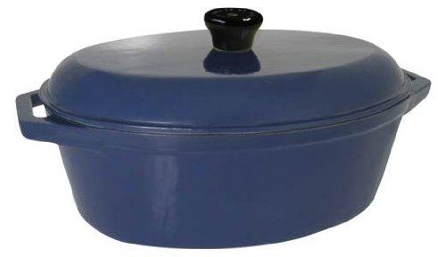 Le Cuistot Classic Enameled Cast-Iron 8 Quart Oval Dutch Oven - Blue