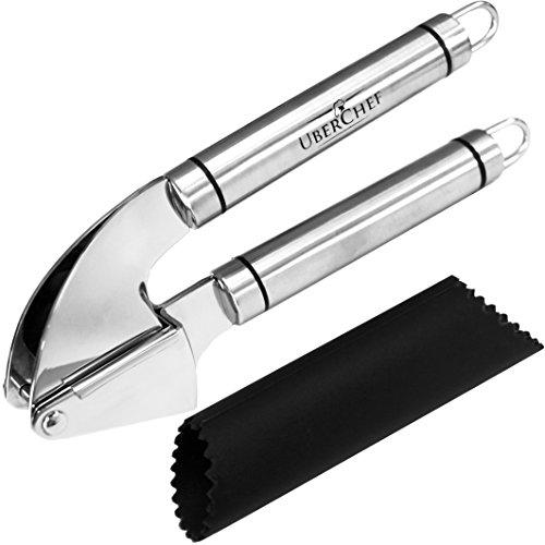 Uberchef® Premium Stainless Steel Garlic Press & Peeler Set ● Mince & Crush Garlic Cloves & Ginger With Ease ●