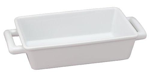 Hic Oblong Rectangular Baking Dish Roasting Individual Lasagna Pan, Fine White Porcelain, 8.5-inches X 5.5-inches
