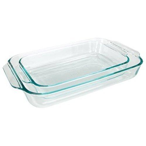 Pyrex Basics Clear Oblong Glass Baking Dishes, 2 Piece Value Plus Pack Set