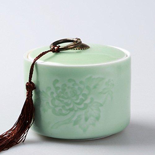 Ceramic tea caddy tins tea leaf set tea canister teapot box sealed jar dried fruit cans light green