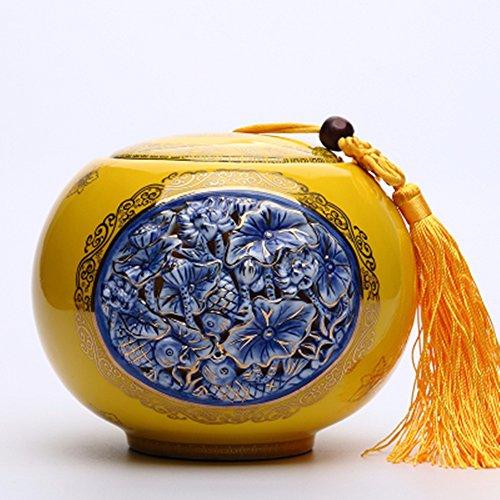 Chinese Ceramic tea caddy tins Tea set Tea service Canister Teapot box Fish