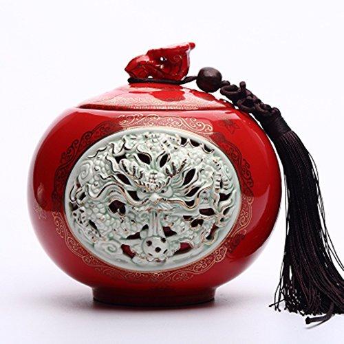 Chinese Ceramic tea caddy tins red Tea set Tea service Canister Teapot box