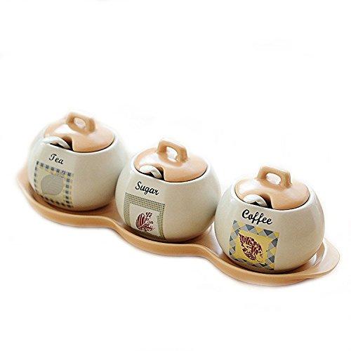 WuKong Ceramic Sugar Coffee Tea Canisters Set of 3