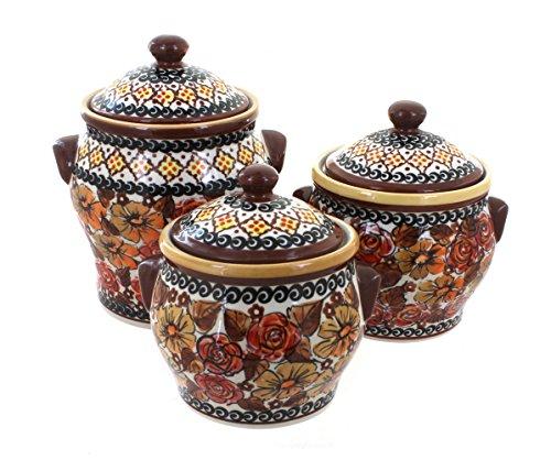 Polish Pottery Autumn Rose 3 Piece Canister Set