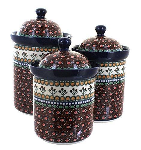 Polish Pottery Golden Pastures 3 Piece Canister Set