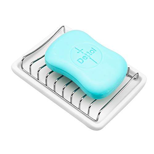 iPEGTOP Ceramic Soap Dish Double Layer Stainless Steel Shower Bar Soap Holder Tray with Drainage Grid and Holder for Bathroom Tub and Kitchen Sink