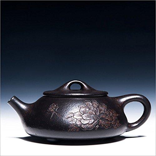 200cc Yixing Teapot Authentic Purple Clay Master Handmade Chinese Health Kung Fu Tea Set Zisha Black Gold Sand Carving Peony Shipiao Pot