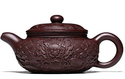 Chinese Yixing Handmade Pure Clay Zisha Teapot 280cc Tea Pot Fang Gu Hu Carving Dragon