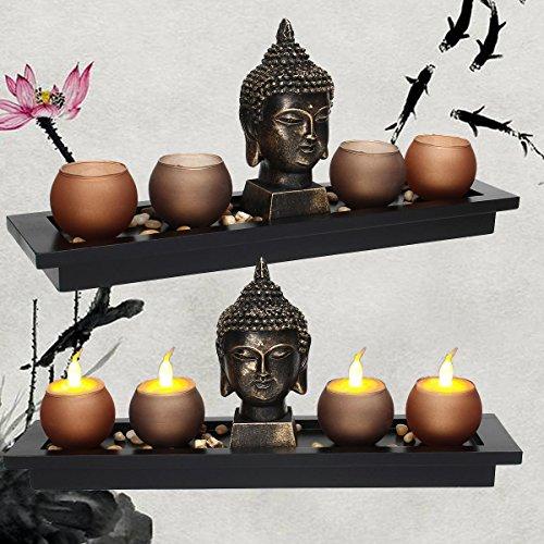 1pcs Thai Buddha Head Ornament Resin Candle Holders Set Buddhism Meditation Statue Candlestick Tray Stones Home Decoration Gifts Katoot