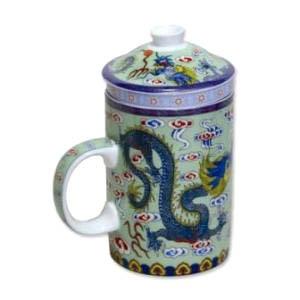 Chinese Teaware  Chinese Porcelain  Chinese Tea Cups Chinese Porcelain Tea Cup With Lid Removable Strainer - Dragon Symbol
