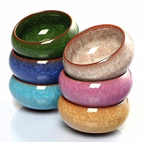 Mangocore 6pcs Kung Fu Tea Cup Set Crackle Glaze 30ml Travel Chinese Porcelain Teacup Ceramic Yixing Purple Clay Tea Service multi color