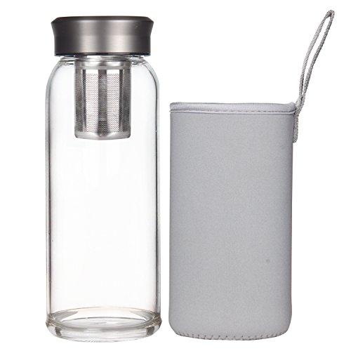 Justfwater Borosilicate Tea Infuser Tumbler Glass Water Bottle 24oz