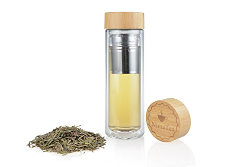 NimaTea Tea Infuser Glass Tumbler 15 oz with Bamboo Lid Comes with Stainless Steel Basket Strainer and Sleeve - Portable Brewing Tea Maker with Double Wall Insulated Bottle