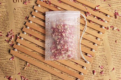 100pcs Corn Fiber Tea Filter Bags Disposable Tea Infuser Empty Drawstring Bags for Loose Leaf Tea 27 in× 35in  Big Capacity  with 4 Snail Tea Bag Holders