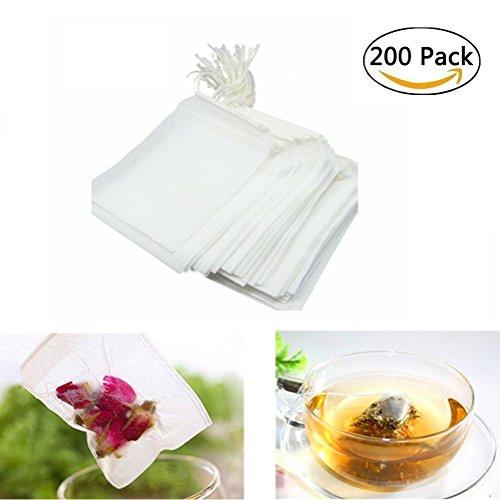 200Pcs Tea Filter BagsDisposable Tea Infuser Bags Drawstring Empty Cotton Bags for Loose Leaf Tea(354 x 275 inch)