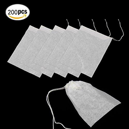 YEHAM 200pcs 6 x 8cm Disposable Filter Empty Tea Bags Infusers Drawstring Herb Loose Tea bag