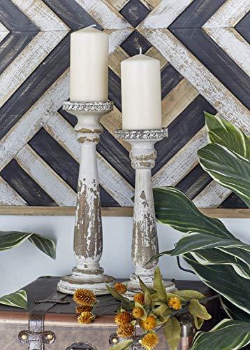 Deco 79 44410 Wood Candle Holder Set of 2