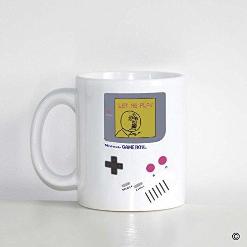 MsMr Custom White Mug 11oz - Personalized Mug Design - Nintendo Gameboy Let Me Play CoffeeTea Mug