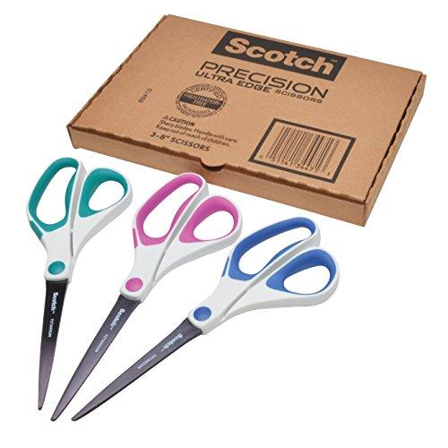 Scotch 8 Inch Precision Ultra Edge Scissors, 3-pack (1458-3amz)