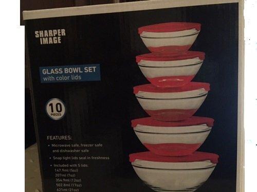 Sharper Image 10 pieces glass bowl set with color lids